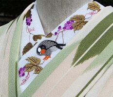 ★ぶどうと鳥★刺繍半襟ひめ吉オリジナルデザイン☆鳥好き必須アイテム☆こだわり半襟