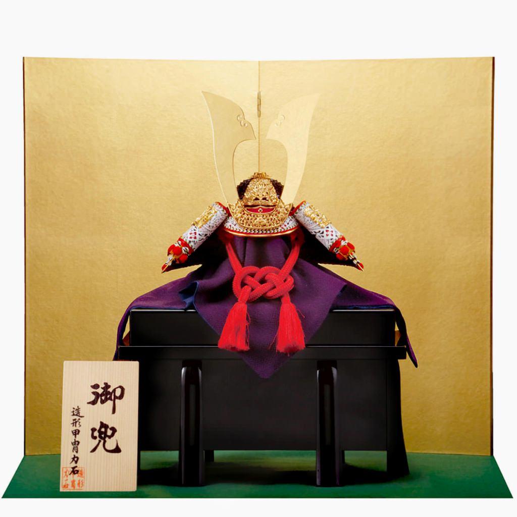 五月節句 五月人形 兜飾り 赤糸威之兜 二方白 13号 造形甲冑力石:人形の館石倉