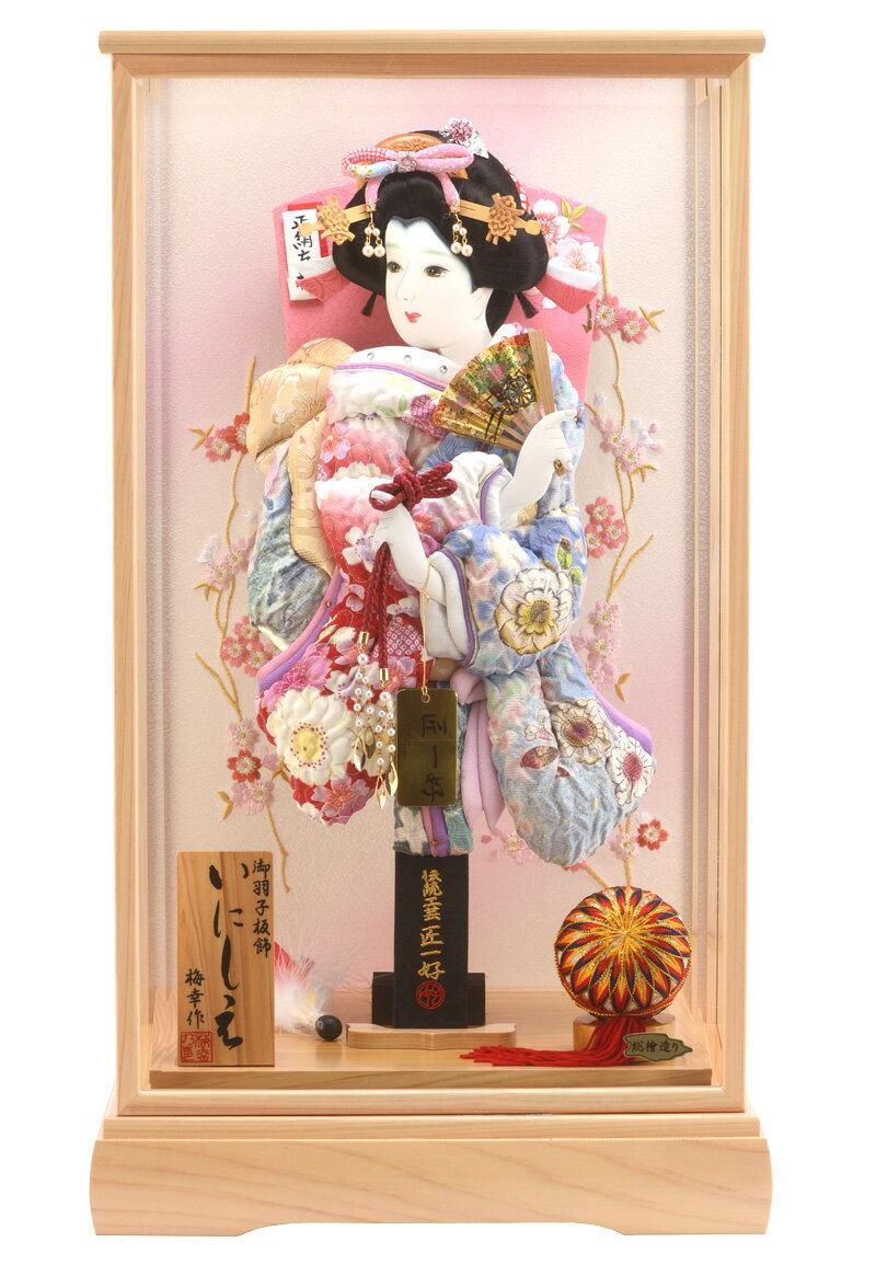 匠一好作 御羽子板飾 刺繍 いしの桜 × 辻が花 15号 梅幸作 いにしえ 総檜造り