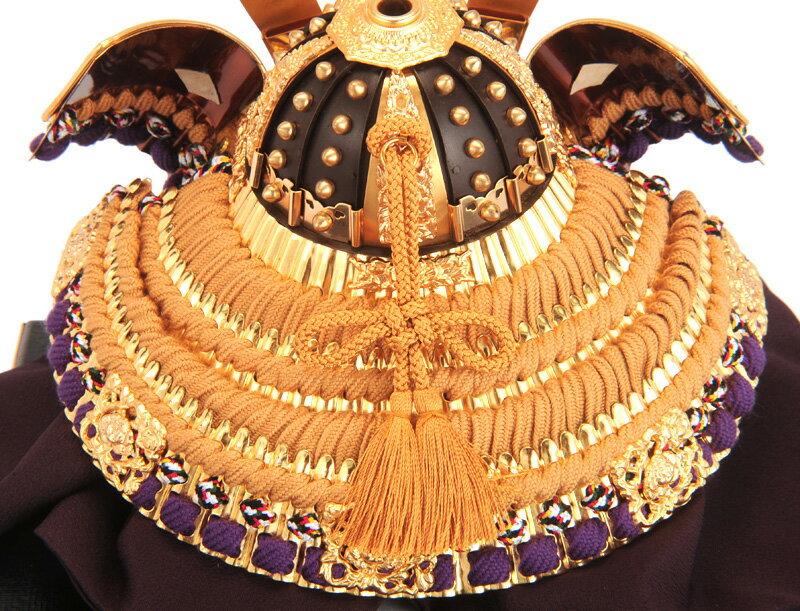 兜10号 一枚物 錆朱 正絹縅 本金箔押 白檀塗 本金鍍金