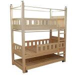 国産無垢ひのき三段ベッド下段ベッド収納型、カーテンパイプ付き無塗装仕上げ1304035