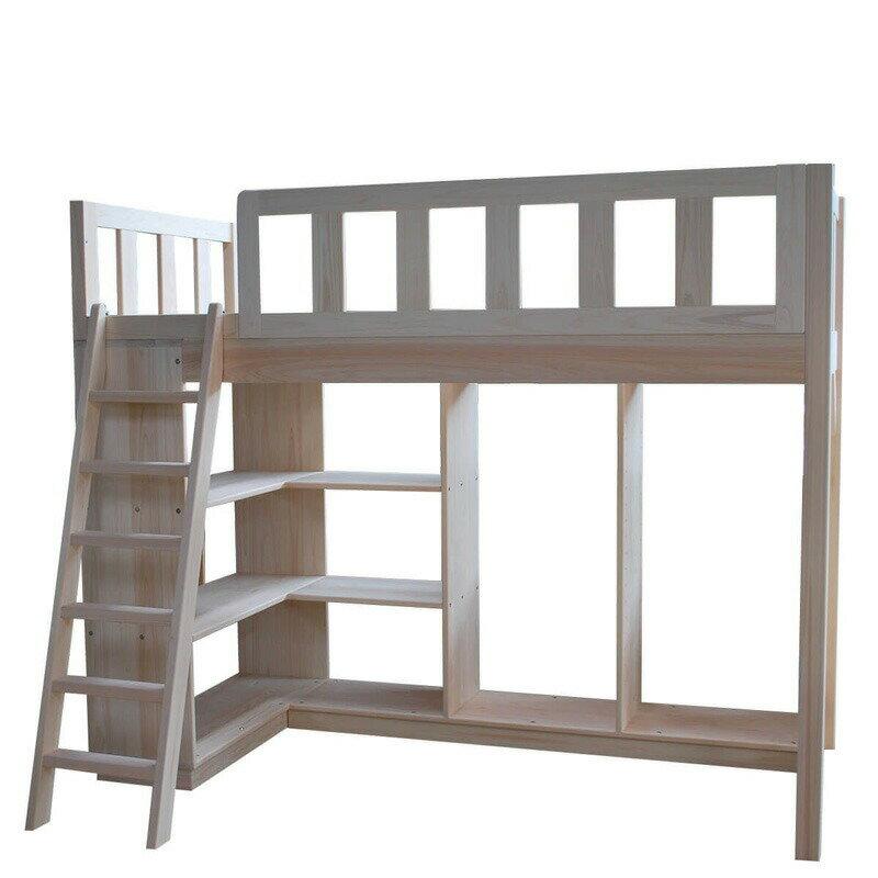 [サイズ変更可能]国産無垢ひのきベッド下収納付きシステムロフトベッド すのこベッド ベッド下クローゼットタイプ