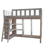 ベッド下有効活用、棚やクローゼットが付いているのでお部屋が広く使え、かたずけ上手になるシステムロフトベッド
