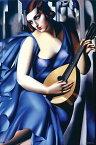 タマラ・ド・レンピッカ アートプリント/Woman Blue Guitar アートフレーム付 Tamara de Lempicka