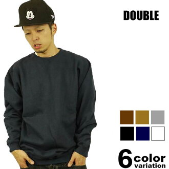DOUBLE (double) l/s back brushed sweat trainer (6 colors)