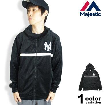 MAJESTIC マジェスティック ベロア パーカー ジップアップ ニューヨーク ヤンキース New York Yankees メンズ MM23-NY-8F12 【あす楽対応】