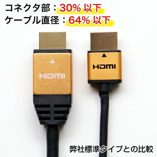 HO-HDA20-225GD/HO-HDA20-226SV/HO-HDA20-053BK HORIC ハイスピードHDMIケーブル 2m スリム&コンパクト設計 【ホーリック】