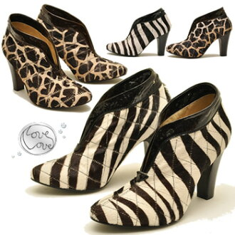 Genuine leather animal print Huracan ゴージャスブーティ Love Love love love ladies boots bootee leather