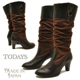 Canvas and leather combination of long-length ルーズブーツ TODAY's today ladies boots leather