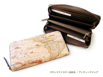 라운드 지퍼 장 지갑 ◆ アートヌメレザー 앤티크 지도
