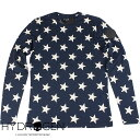 HYDROGEN ハイドロゲン メンズ 長袖Tシャツ ALLOVER STARS T-SHIRT LS 220114 013 BLUE NAVY