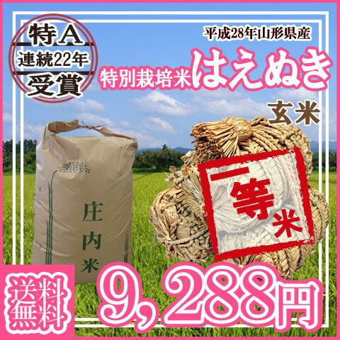 """★山形県産特別栽培米はえぬき玄米30kg \""""..."""