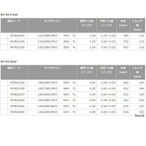 MCR02335ブリヂストン(BRIDGESTONE)バトラックスBT92140/60R1763HTLリア