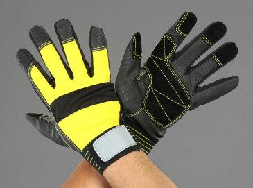 【メーカー在庫あり】 エスコ(ESCO) L ポリウレタン手袋(豚革あて付/黒 黄) 000012247862 HD