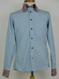 オリジナルJohnペイズリーショールビーグルカラーシャツマスタード&ブルー