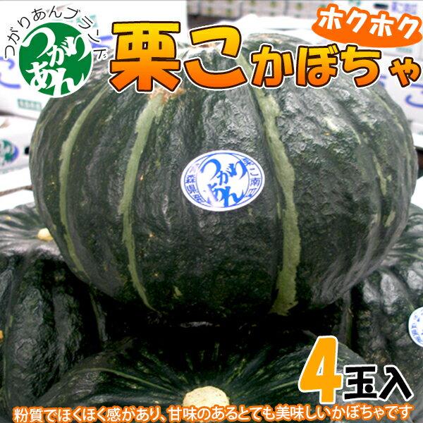 【送料無料】【つがりあん】栗こかぼちゃ 4玉入[約8kg] 栗のような甘さ!青森 青森産 南瓜 かぼちゃ カボチャ 販売 弘果