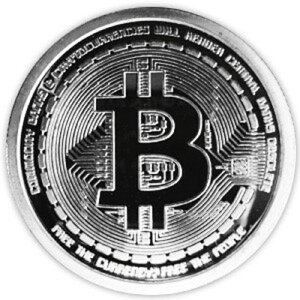 イミテーション ビットコイン 銀貨 シルバー bitcoin風 硬貨【smtb-KD】[面白][定形外郵便、送料無料、代引不可]