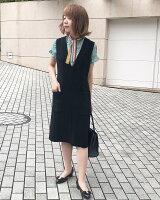高品質完全日本製二重織ダブルジョーゼットVネックジャンパースカートカラー黒