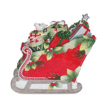 Fitz and Floyd フィッツアンドフロイド Tartan Christmas Sleigh Cookie Jar タータン クリスマス クッキージャー お菓子入れ テーブルウェア 取り寄せ商品