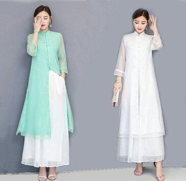 ハンフー サマードレス シフォン ロングカーディガン ワイドパンツ ツーピース 漢服