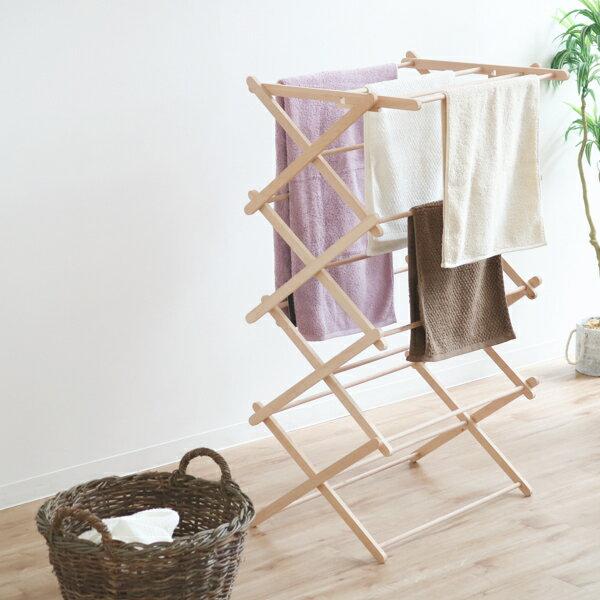 物干し 折り畳み 室内 木製 クロスドライヤー 伸縮 洗濯 部屋干し ハンガーラック 物干しスタンド BIERTA ビエルタ