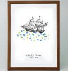 帆船のウェルカムボード<Sサイズ>【ゲスト参加型(30-80名用) スタンプ 拇印 指紋】【結婚式 結婚祝い プレゼント】【航海 出港 海 船旅 旅立ち】
