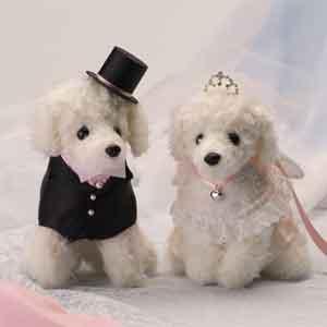 プードルのウェルカムドッグ完成品ピンクリボン(ティアラ付き)【ウェルカムドール 犬のぬい...
