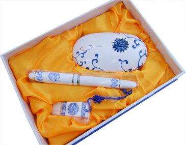 青花 USBメモリー 無線 マウス ボールペン セット
