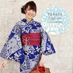 Yukata Ladies 'Single Item Confeccionado Retro Mujer Algodón Lino Marrón claro Azul marino Teñido ykt0615-ema35 [Orden] [Nuevo]