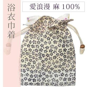拉繩拉繩袋浴衣袋小花愛羅馬日本雜貨日本小提出了黑色的日本模式 spo2551