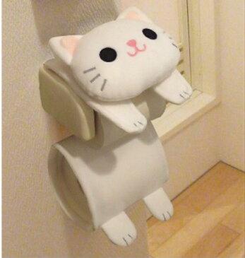 ネコのロールペーパーホルダー シロ ねこのしっぽ物語 ME243 白猫 cat