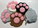 【アクリルたわし】肉球4色(白・黒・茶・灰)当店オリジナル猫ネコねこcat