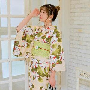 [80% OFF] yukata ladies yukata single item (yukata only) beige White Red Green Green Tsubaki Tsubaki Early Showa Antique Design Reprint Yukata Yukata Female Retro Free Size