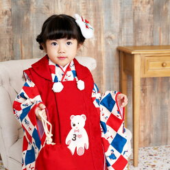 ◆着付け簡単♪フルコーデ◆【ひよこ商店の七五三。正絹着物被布コート7点セット】女の子3歳向け着物セット祝着お祝い着