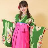 レンタル貸衣装袴着物卒業式小学生中学生大学生水色赤モダン菊