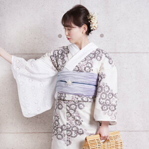 Yukata Set Ladies Yukata 3-piece set (yukata / obi / geta) One-sleeved & Collar Cotton Lace Asymmetry Fabric made in Japan Domestic dyeing Wakayama dyeing white lavender beige gray Kogiku early Showa antique reprint Yukata set Yukata woman retro free size