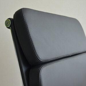 【ダブルステッチタイプ】本革仕様イームズアルミナムグループチェアブラック(ローバック/ソフトパッド)イームズ送料無料アルミナムチェアオフィスチェアレザー役員椅子デザイン家具ワークチェアPC事務椅子デザイナーズリプロダクトパソコンチェア