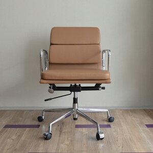 【ダブルステッチタイプ】本革仕様イームズアルミナムグループチェアモカベージュ(ローバック/ソフトパッド)イームズアルミナムチェアオフィスチェアレザー役員椅子デザイン家具ワークチェアPC事務椅子デザイナーズリプロダクトパソコンチェア