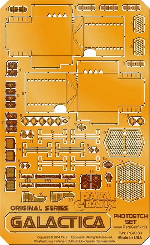 パラグラフィックス =メビウスモデル 1/4105 宇宙空母ギャラクティカ(オリジナルTV版)用ディテールアップエッチングパーツ =画像