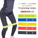 トレーニングチューブ 5本セット 強度別 エクササイズ ゴムチューブ トレーニング ダイエット ヨガ...
