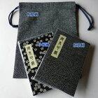 【藍色小紋柄「巾着」セット】『巾着』と『藍色小紋柄の御朱印帳2冊』のセット