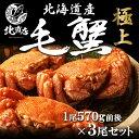 【北海道産毛蟹570g×3】北海道毛ガニ!!極寒で育った堅蟹...
