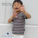 Anna Nicola(アンナニコラ) 肩釦ボーダー柄半袖Tシャツ 日本製(キッズ ベビー 赤ちゃん 新生児 ベビー服 Tシャツ 半袖 子供 男の子 子供服 80cm 90 100cm)