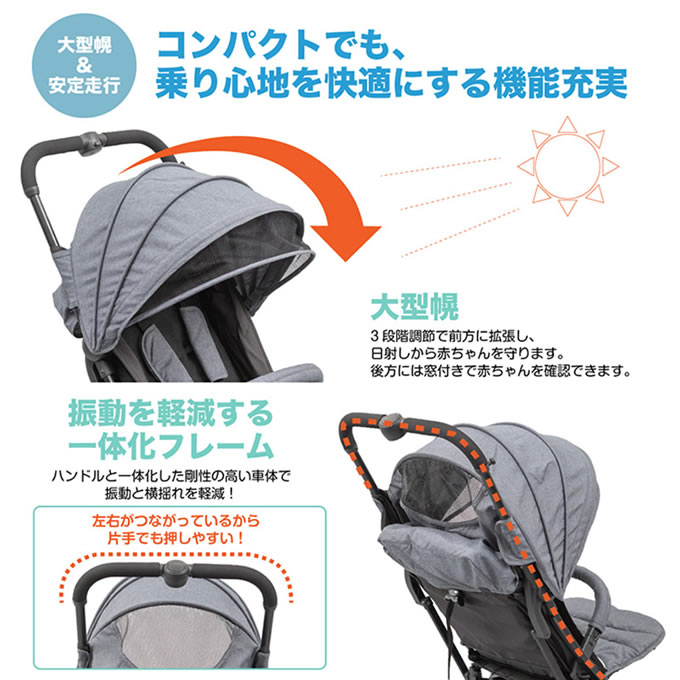 日本育児コンパクトベビーカートラベルバギーA3+エースリープラス(ベビーカーバギー折りたたみコンパクト日よけ)