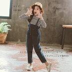 セットアップ キッズ 女の子 ストライプ柄Tシャツ+デニムオーバーオール 上下セット 韓国子供服 ジュニア服 春着 秋着 女の子 セットアップ 110cm 120cm 130cm 140cm 150cm 160cm