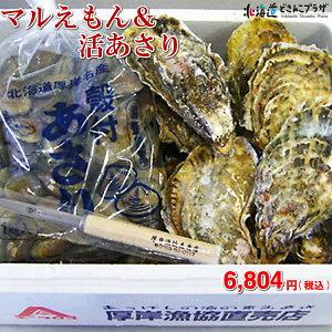 【メーカーより直送】「厚岸産 マルえもん(牡蠣・あさり)活貝セット」北海道 送料込 貝 ギフト 贈り物 ※賞味期限が短いため、必ずお届け日をご指定の上ご注文をお願いいたします