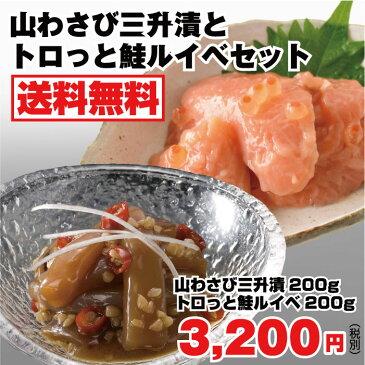山わさび三升漬とトロっと鮭ルイベセット 送料無料 サーモンルイベ漬 三升漬 北海道 珍味 酒の肴 ご飯のおとも 一刀流まぎり