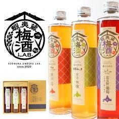 高砂酒造蝦夷蔵梅酒LAB.飲み比べ(苺・林檎・葡萄)各375ml×3本セット箱入