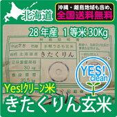 北海道産きたくりん玄米(30Kg)【送料無料】【28年産】【1等米】【北海道米】