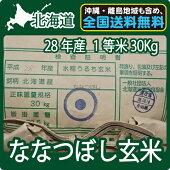 北海道産ななつぼし玄米(30Kg)【送料無料】【1等米】【北海道米】【平成28年産】【特A】